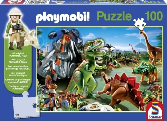 PLAYMOBIL® In the Dinoland Puzzle with Playmobil - Figure 100 Pieces SCH56042 | Dodax.co.uk