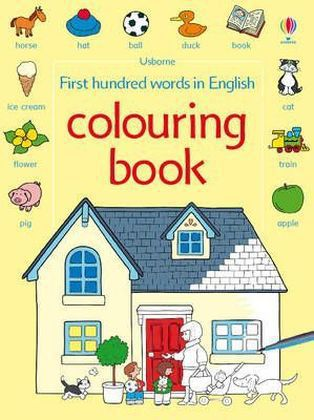 Usborne First hundred words in English colouring book | Dodax.fr