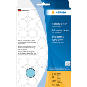 HERMA Multi-purpose labels/colour dots Ø 19 mm round blue paper matt backing paper perforated 1280 pcs. | Dodax.ca