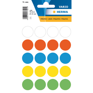 HERMA 1881 Circle Multicolour 100pc(s) self-adhesive label | Dodax.co.uk
