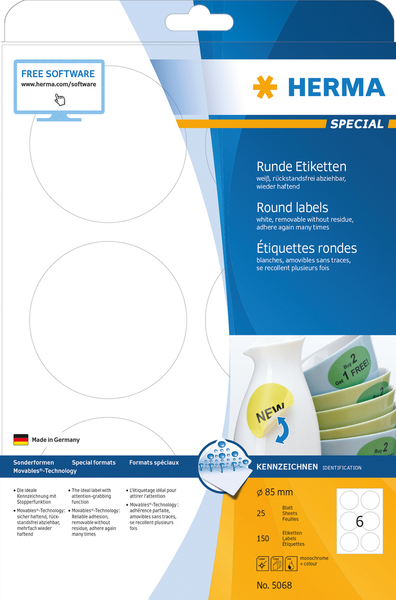HERMA Removable labels A4 Ø 85 mm round white Movables/removable paper matt 150 pcs. | Dodax.co.uk