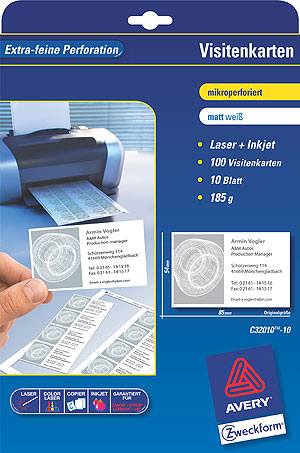 Avery Business Cards 85 x 54 Perforated 10 Sheets 185 g/m² 100Stück(e) Visitenkarte | Dodax.at