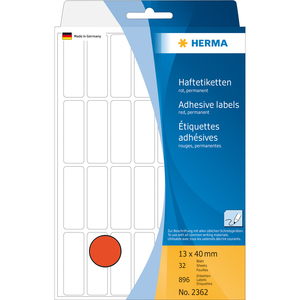 HERMA Multi-purpose labels 13x40 mm red paper matt hand inscription 896 pcs. | Dodax.co.uk