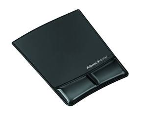 Fellowes Health-V Crystal Mouse Pad/Wrist Support Black | Dodax.co.uk