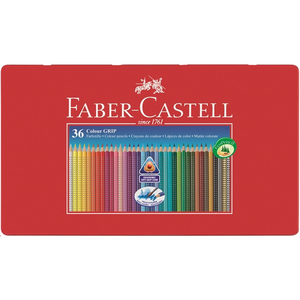 Faber-Castell - Colour Grip, Coloured Pencil, Tin of 36 (112435) | Dodax.es