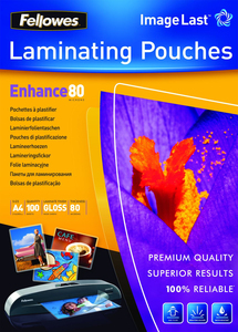 Fellowes ImageLast A4 80 Micron Laminating Pouch - 100 pack | Dodax.co.uk