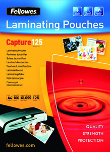 Fellowes Glossy 125 Micron Card Laminating Pouch - 65x95mm | Dodax.co.uk