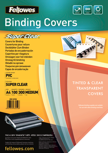 Fellowes 53763 A4 PVC Transparent 100pc(s) binding cover | Dodax.co.uk