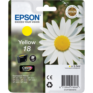 Epson Singlepack Yellow 18 Claria Home Ink | Dodax.at