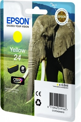 Epson Singlepack Yellow 24 Claria Photo HD Ink | Dodax.co.uk
