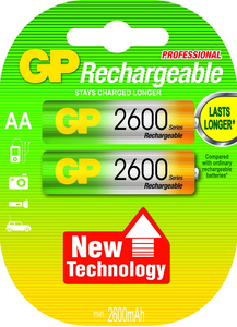 GP Batteries NiMH rechargeable batteries AA Nickel Metal Hydride 2600mAh 1.2V rechargeable battery | Dodax.com