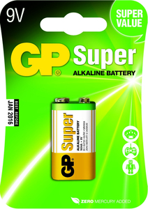 GP Batteries -  Super Alkaline 9V (0301604AC1) | Dodax.at