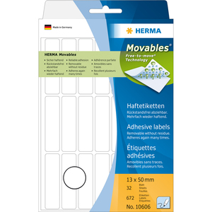 HERMA Multi-purpose labels 13x50 mm white Movables/removable paper matt 672 pcs. | Dodax.co.uk