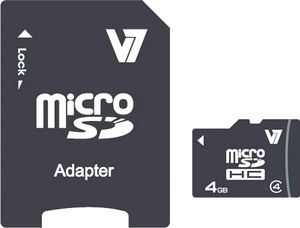 V7 4GB Micro SDHC Card Class 4 + Adapter memory card | Dodax.co.uk
