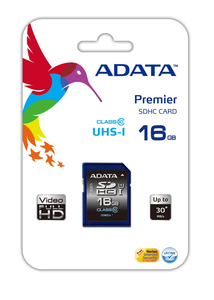 ADATA - Memory Card SDHC 16 GB 50/33 MB/sec (Premier SDHC UHS-I U1 Class10 16GB) | Dodax.at