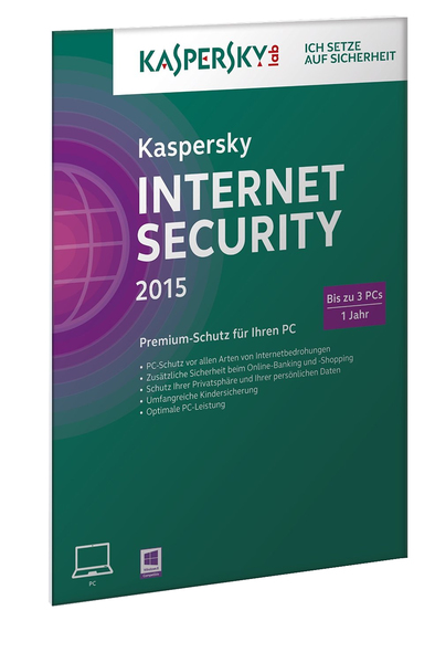 Kaspersky Internet Security 2015 3 Lizenzen (FFP), 1 CD-ROM | Dodax.ch