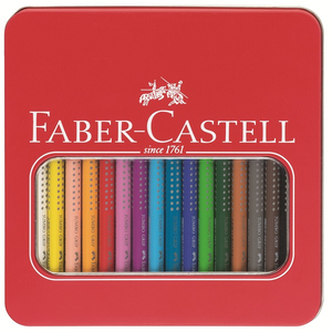 Faber-Castell - Jumbo Grip Coloured Pencil, Metal Tin of 16 (110916) | Dodax.nl