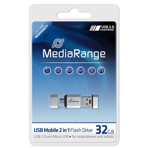 MediaRange 32GB USB Mobile 2 in 1 OTG 32GB USB 2.0/Micro-USB Silber USB-Stick | Dodax.ch