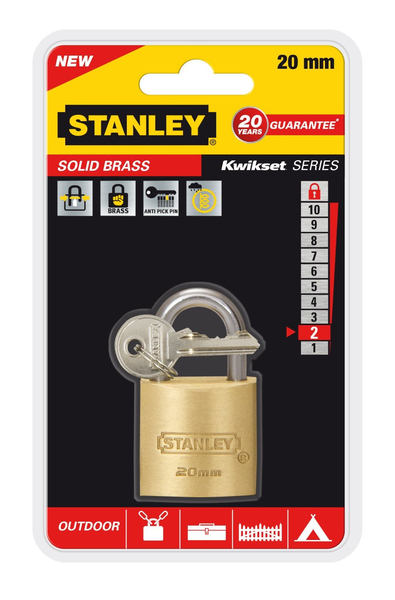 Stanley - Solid Brass, Outdoor Padlock, 20 mm (81100371401) | Dodax.es