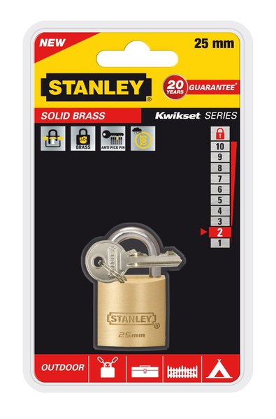 Stanley - Solid Brass, Outdoor Padlock, 25 mm (81101371401) | Dodax.co.uk