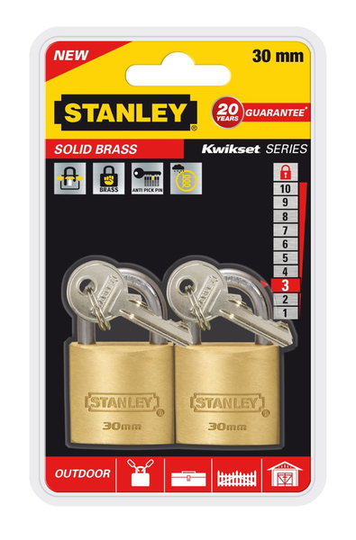 Stanley - Solid Brass, Outdoor Padlock, 30 mm, Set of 2 (81102371402) | Dodax.fr