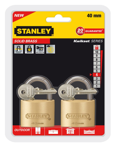 Stanley - Solid Brass, Outdoor Padlock, 40 mm, Pack of 2 (81103371402) | Dodax.es