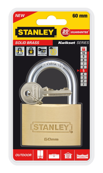 Stanley - Solid Brass, Outdoor Padlock, 60 mm (81105371401) | Dodax.fr
