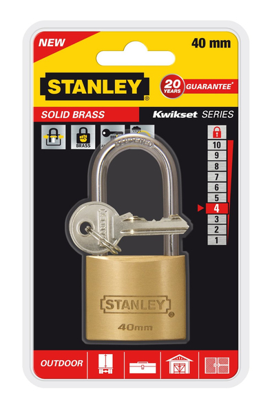Stanley - Solid Brass, Outdoor Padlock, 40 mm (81113371401) | Dodax.es