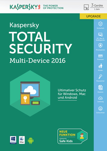 Kaspersky Total Security Multi-Device 2016 Upgrade, 1 DVD-ROM | Dodax.at