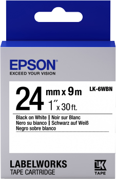 Epson LK-6WBN 24mm x 9m | Dodax.co.uk