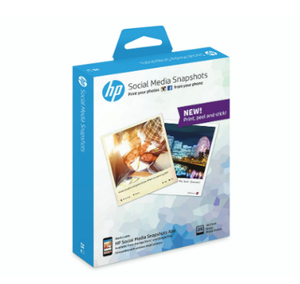 HP Social Media Snapshots Removable Sticky Photo Paper-25 sht/10 x 13 cm Semi-gloss White | Dodax.ca