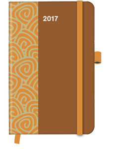 Cool Diary PATTERN Saddle Brown 2017 WEEKLY (9x14) | Dodax.ch