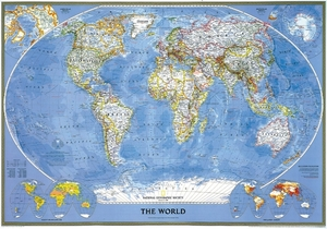 National Geographic Map The World, Political, Classic, laminiert, Planokarte | Dodax.at