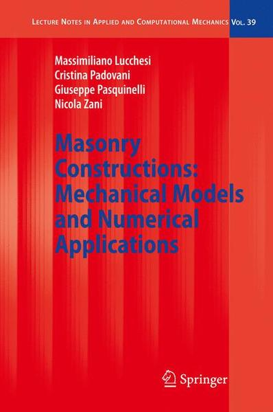 Masonry Constructions: Mechanical Models and Numerical Applications | Dodax.ch