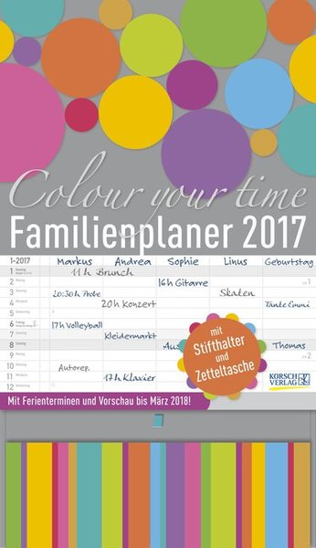 Familienplaner Colour your time 2017 | Dodax.at
