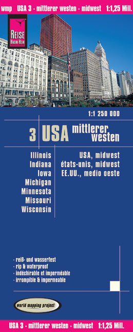 World Mapping Project USA, Mittlerer Westen. USA, Midwest. États-Unis, Midwest; EE.UU., medio oeste | Dodax.ch