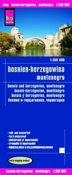World Mapping Project Reise Know-How Landkarte Bosnien-Herzegowina, Montenegro (1:350.000). Bosnia and Herzegovina, Montenegro / Bosnie-Herzégovine, Monténégro / Bosnia y Herzegovina, Montenegro   Dodax.ch