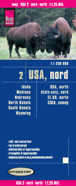 World Mapping Project Reise Know-How Landkarte USA 02, Nord (1:1.250.000) : Idaho, Montana, Wyoming, North Dakota, South Dakota, Nebraska. USA, North / États-Unis, Nord / EE.UU. norte | Dodax.at