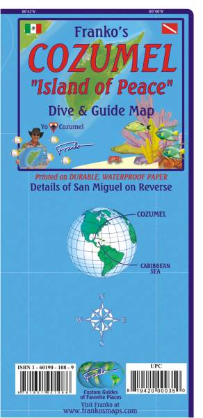 Franko Maps Franko's Cozumel 'Island of Peace' Dive & Guide Map | Dodax.ch