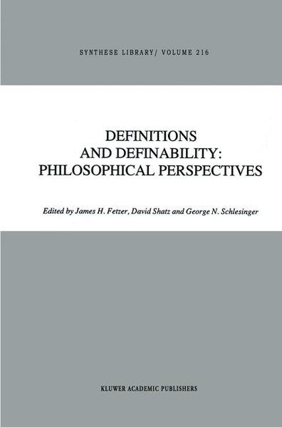 Definitions and Definability: Philosophical Perspectives   Dodax.pl